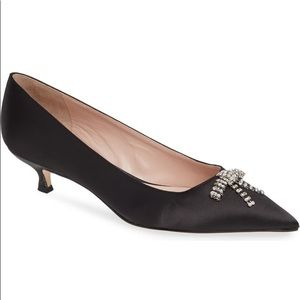 KATE SPADE Derbie Pump Kitten Heel Shoes w/Crystal